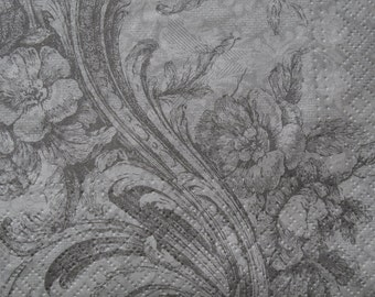 One paper napkin for decoupage, Floral design, Floral pattern, Silver & Gray