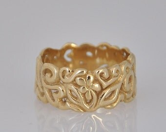 Yellow Gold Wedding Band , 14k Gold Wedding Band , Solid Gold Wide Ring , solid Gold Wedding Ring , Unique Woman Wedding Band ,