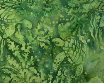 One Fat Quarter of Fabric Material - Green Sea Turtles