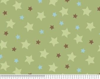 Riley Blake - Sheri Berry - Mod-Tod - Sage Green With Stars Cotton Fabric