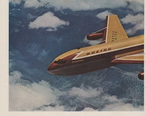 1957 Boeing 707 airplane travel 2 page vintage magazine ad, ephemera