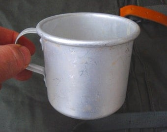 Vintage  Aluminum mug/Kitchen decor/ Farmhouse decor/Bulgarian military camping cup/1960s