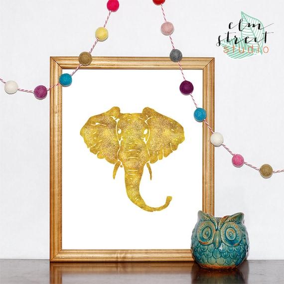 Gold Elephant Wall Decor : Items similar to gold foil elephant print