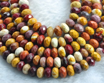 Mookaite faceted rondelle beads 5x8mm,15 inches