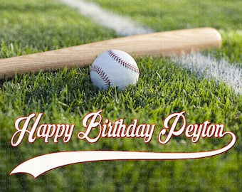 Baseball Happy Birthday Edible Icing Sheet Cake Decor Topper - SPBSB1
