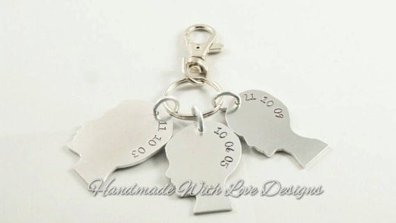 Silhouette heads children family Hand Stamped Keyring
