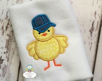 Chick wearing ball cap Easter Shirt or Bodysuit, Boy Easter Chick Shirt, Boy Easter Shirt, Easter Shirt for Boys, Boy Chicken Shirt