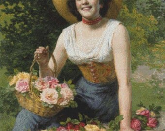 A Beauty Holding a Basket of Roses PDF Cross Stitch Pattern