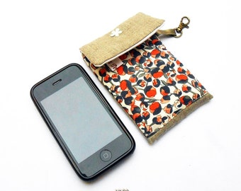Phone cover linen and liberty fabric Eliza's