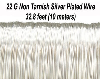 22 Gauge (0,6 mm), Non Tarnish Silver Plated Copper Wire, Round, 32.8 feet (10 meters), Made in UK