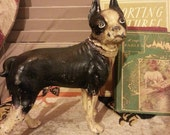 Authentic Early Hubley Antique Boston Terrier Cast Iron Doorstop Figurine Dog Statue Painted with Excellent Chippy Patina