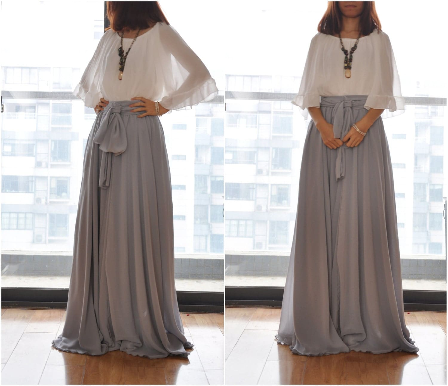 Beautiful Bow Tie Chiffon Maxi Skirt Silk Skirts Gray Elastic