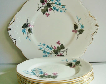 Royal York bone china serving plate set with 5 side plates