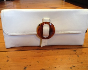 Deadstock white leather clutch bag