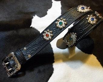 No.181 Handmade Vintage Reproduction Studded Jeweled Cowboy Western Belt