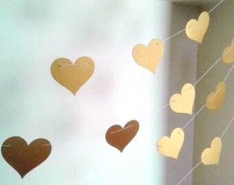Gold Metallic Heart Garland - 10 feet , Gold Wedding Décor, Gold Bridal Shower Décor.