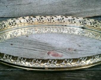 Vintige Tray, Vanity Tray, Oval Tray, Gold Filigree Tray, Oval Mirrored Vanity Tray, Vintage Home Decor