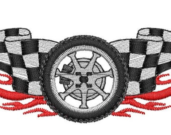 Wheel with Flames Embroidery Design