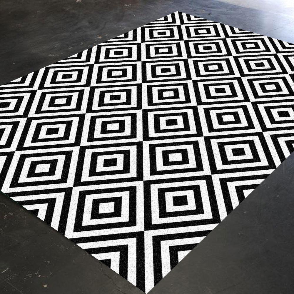 Black And White Rug Geometric Rug Bedroom Rug By Hawkerpeddler