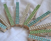 Blue, Green and Silver Sparkly Clothespins (10)