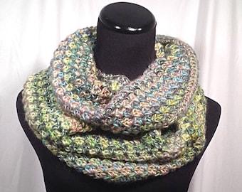 Pastel Striped Crochet Infinity Scarf