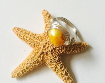 Bright Yellow Seashell Messy Wrapped Wire Ring.