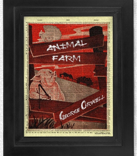 Book Cover Art Etsy ~ Items similar to animal farm book cover on antique