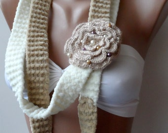 Tan Rose scarf Crocheted rose lariat scarf Cream lariats flower scarf Scarflette Womens scarves Accessories Fashion Trend Necklace Scarves