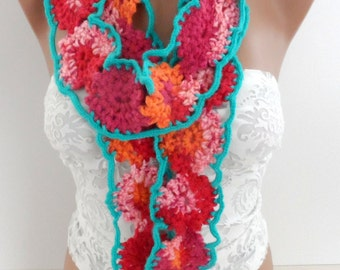 Crocheted scarf lariats Multicolor crocheted lariat Hand crochet lariats Extra long scarf Crochet jewelry Women accessories Gifts for Mom