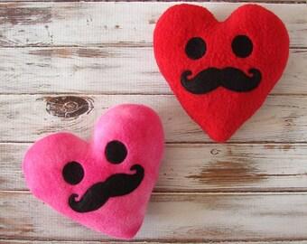 Plush Heart - Mustache Plush - Stuffed Heart - Valentines - Love Gift - Handmade