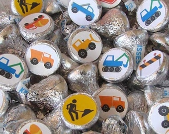 Construction Party - Kiss Stickers - Printed - Hershey Kisses, Candy Stickers - Dump Truck, Birthday Party