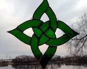 Dark Green Streaky Square Celtic Knot Sun Catcher