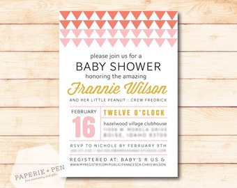 Triangles, Modern Baby Shower, Birthday Invitation, 2-3 Day Turnaround!