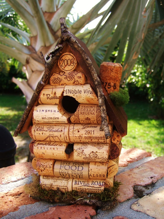 Wine cork birdhouse home decor home and living decor for How to build a birdhouse out of wine corks