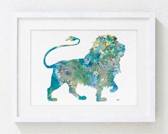 Blue Lion Painting, Watercolor Art - 5x7 Archival Print - Animals Painting, Wall Decor Art Home Decor Housewares