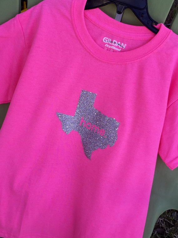 At Home In Texas T Shirt With Vinyl Handmade Design