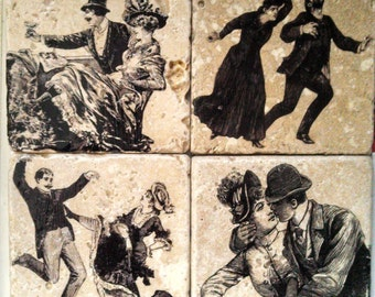 Women & Men Tile Coasters - Set of 4 // Victorian // Couples // Humorous // Amore