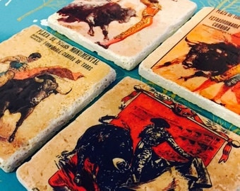 Bullfighters Marble Tile Coasters- set of 4 // Bulls // Bullfighters // Spanish // Monumental