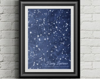 Star Chart Constellation Poster - Personalized Wedding, Birthday or Anniversary gift - Traditional Style