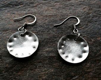 Small silver disc earrings