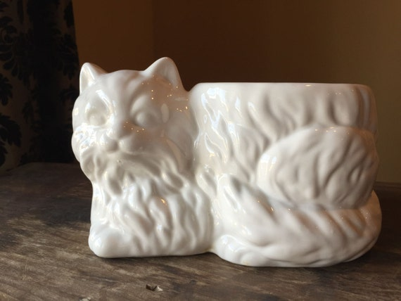 Items Similar To Intage Cat Planter Small White Ceramic