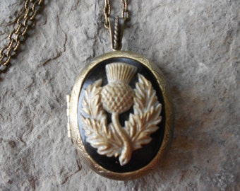 "LOCKET--Stunning Scottish Thistle Cameo (hand painted) Bronze Pendant Locket-- Scotland -  2"" long--Antiqued Look--- Great Quality"