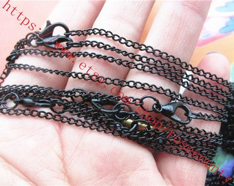 Wholesale 20pcs 18 inch Black  3x2mm thickness Cable chain necklace with lobster clasps