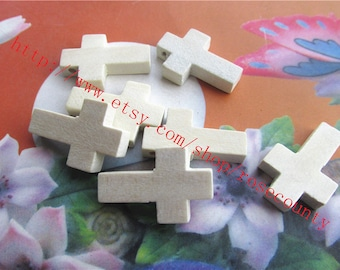 Wholesale 100pcs 22x14x4mm original wood Cross charms findings--unfinished--hole 1.5mm