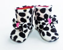 Faux Fur Dalmation Print Winter Boots With Cute Bow Trim