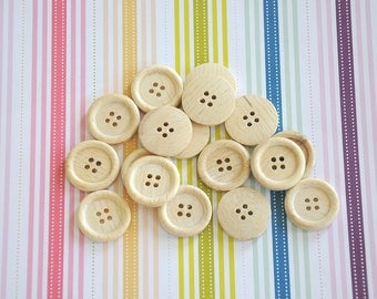 20 Wooden buttons 23mm 4 holes sewing buttons craft wood buttons