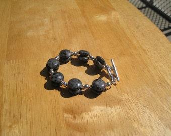 larvakite and pewter bracelet