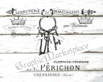 French Keys Logo Transfer Instant Download Linen Burlap Iron on Fabric digital collage sheet graphic printable No. 1528