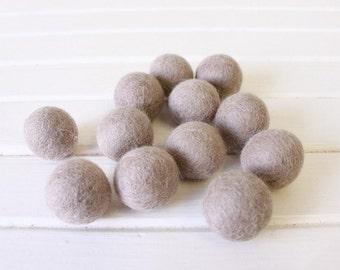 Taupe Felt Balls 12 count
