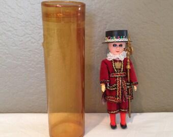 Vintage Scottish Soldier  Plastic Doll with Sleep Eyes and Ethnic Dress Orig Box